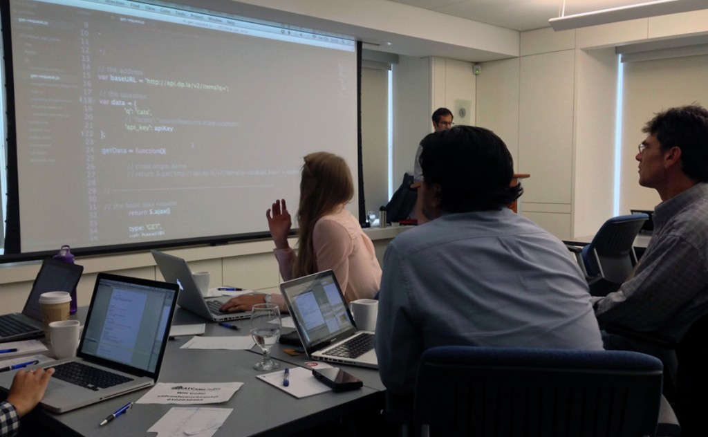 Participants in Nabil Kashyap's API workshop learn some basic scripts