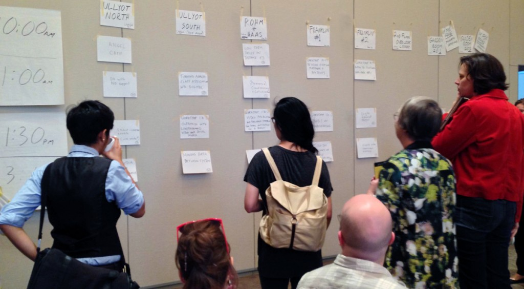 Attendees propose, combine, and arrange unconference sessions during the morning convocation