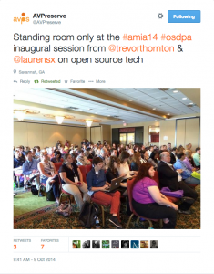 Inaugural session of the Open Source Digital Preservation & Access stream at AMIA 2014