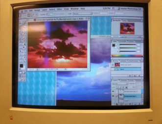 Photoshop component files from Chemical Sundown (2011) displayed on PowerMac G3.