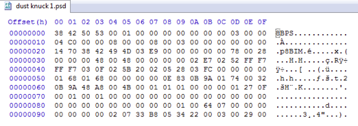 Hex editor view used to help identify software versions used.
