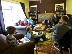 The hackathoners at the Airbnb house on the second day. Photo by Jack Brighton.
