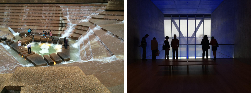 Fort Worth's Philip Johnson-designed Water Gardens (left) and Tadao Ando-designed Modern Art Museum (right). Photos by Lynn Cunningham.