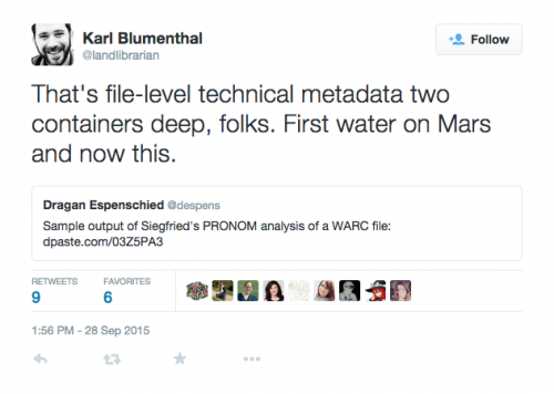 tweet from @landlibrarian about Siegfried and WARCs
