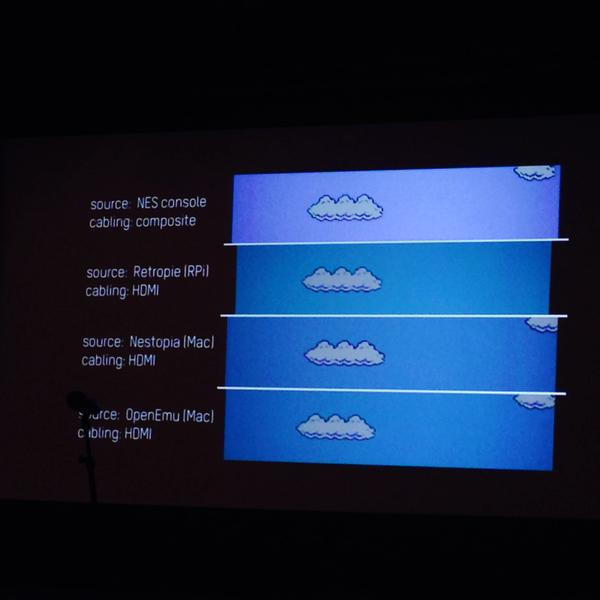 presentation slide by Agathe Jarczyk analyzing a/v output for Cory Arcangel's Super Mario Clouds (2002)
