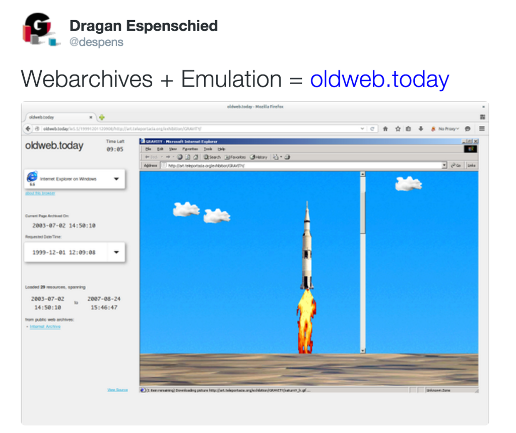 tweet from @despens: webarchives+emulation=oldweb.today
