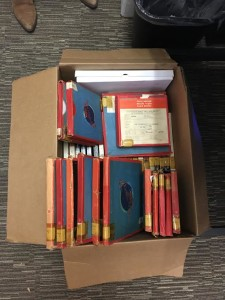 A box of reel-to-reel tape recordings originally produced by Radio Moscow for international distribution, some of which were broadcast on WNYC. These are some of hundreds of recordings that WNYC archivists Ana Marie and Ben Houtman will be digitizing over the next two years.