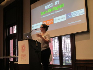 Vicky Steeves, talking up the NDSR program.